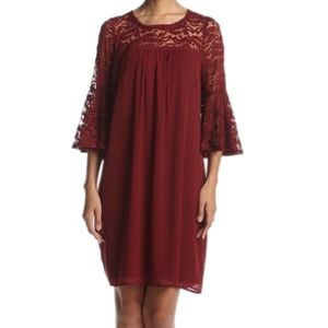 Luxology Wine Lace Yoke & Sleeve Shift Dress 8 NEW
